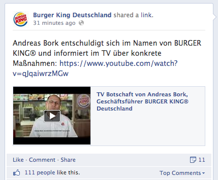 Burger King Reaktion zum Wallraff-Shitstorm auf Facebook